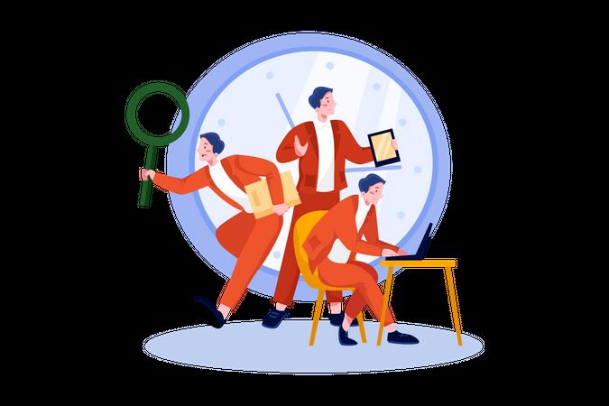 Male freelancer doing multi tasking Illustration