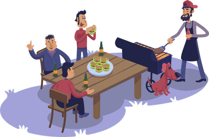 Male friends at barbecue Illustration