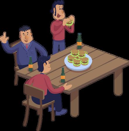 Male friends at pub Illustration