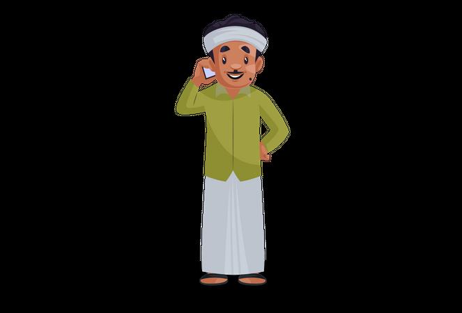Male gardener talking on phone Illustration