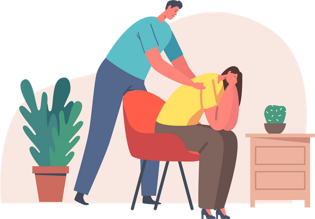 Male Giving Comfort and Support to Friend Keeping Palm on Her Shoulders Illustration