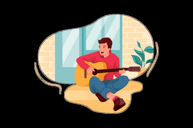 Male guitarist playing guitar Illustration