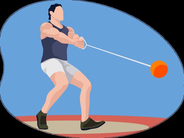 Male hammer thrower Illustration
