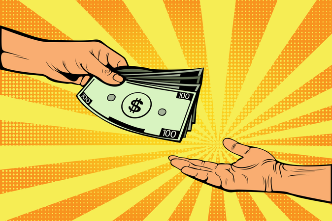Male hand gives money to another hand Illustration