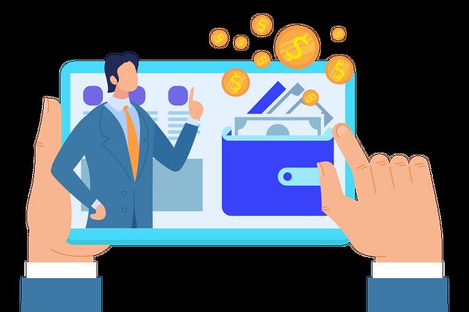 Male Hands Holding Tablet with Business finance Advisor Illustration