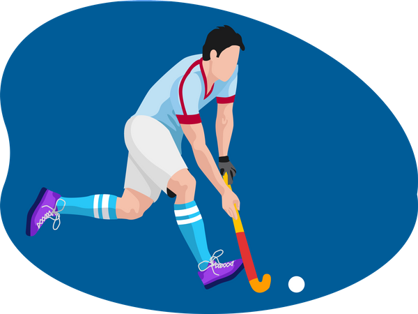 Male hockey player Illustration