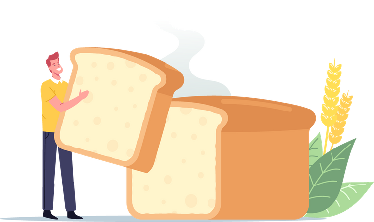 Male Holding Piece of Bread Illustration