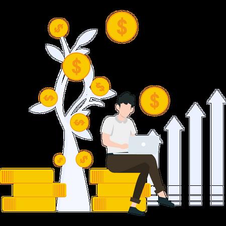 Male investor analyzing profit Illustration