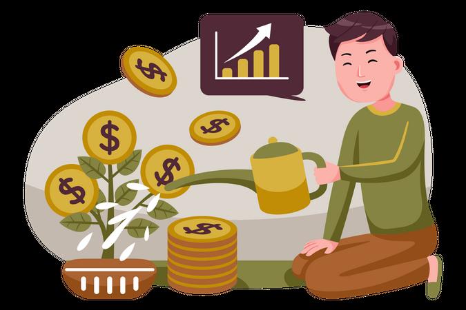 Male investor doing investment Illustration