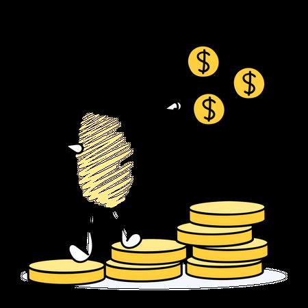 Male investor gaining profit through investments Illustration