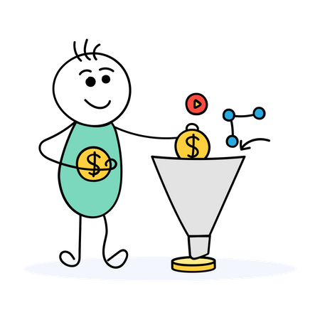 Male investor investing his money and gaining profit Illustration
