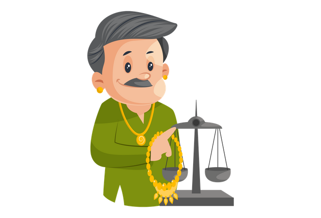 Male Jeweler Holding Gold Chain In Hand And Weighing It Illustration