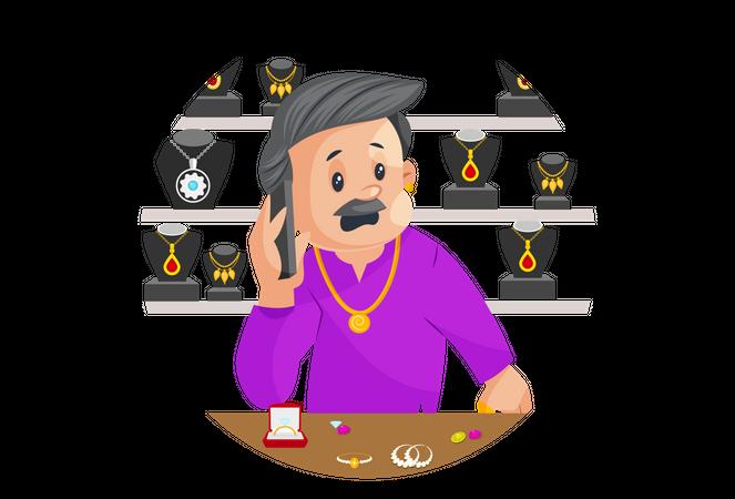 Male Jeweler Is Talking On Mobile Illustration