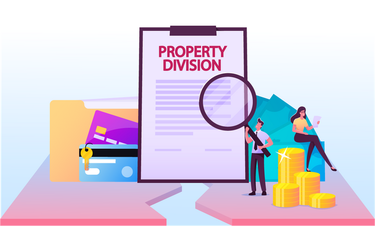 Male Lawyer Reading Property Division Contract Illustration