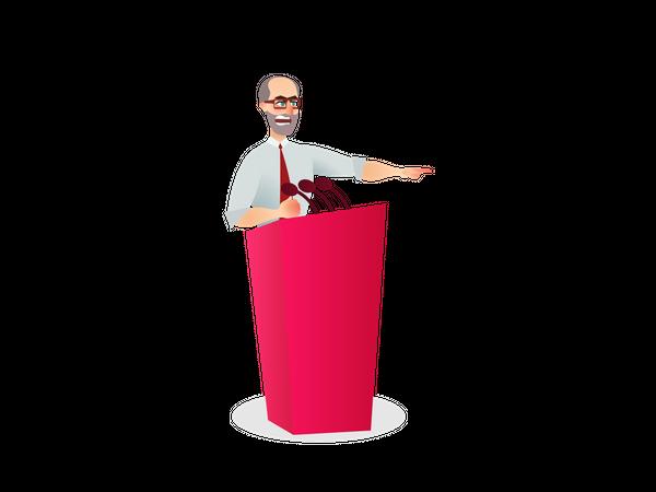 Male leader giving speech Illustration