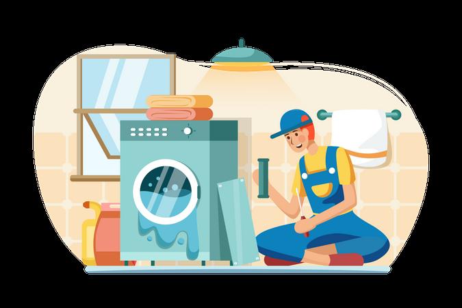 Male mechanic repairing washing machine Illustration
