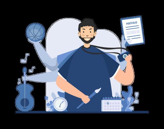 Male multitasking expert Illustration