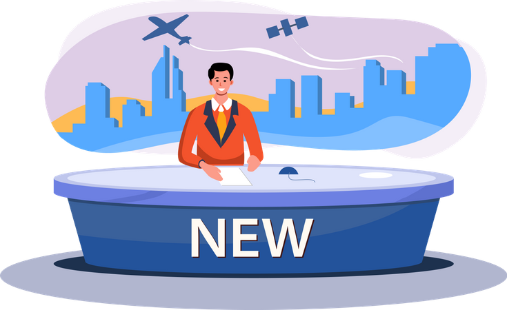 Male news anchor giving breaking news Illustration