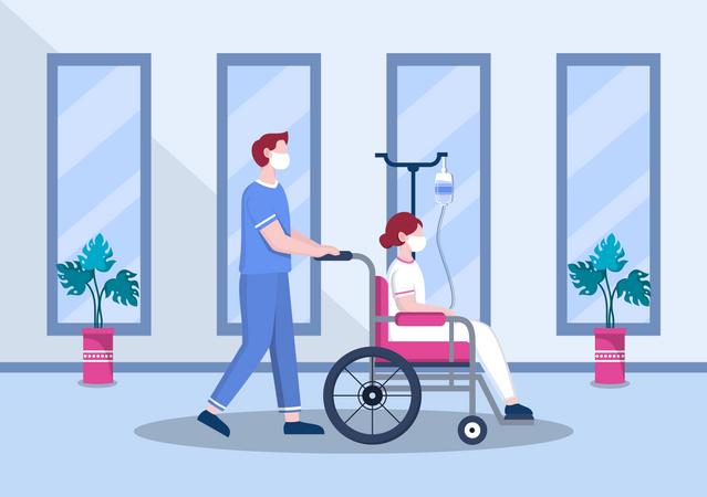 Male nurse Helping Patient on Wheelchair Illustration