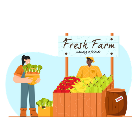 Male owner standing at his vegetable stall Illustration