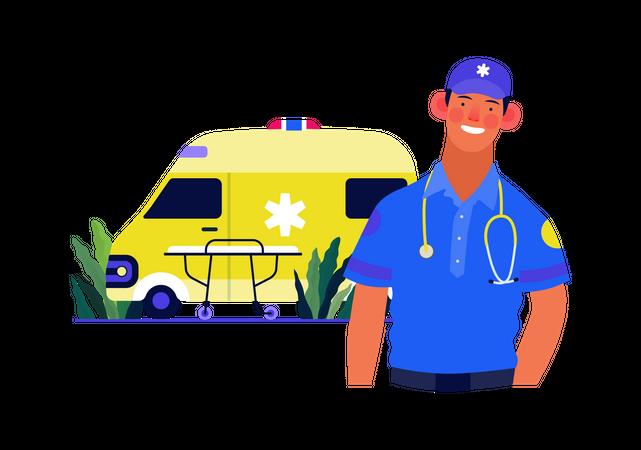 Male paramedic and ambulance van Illustration