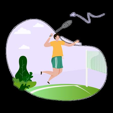 Male player playing badminton Illustration