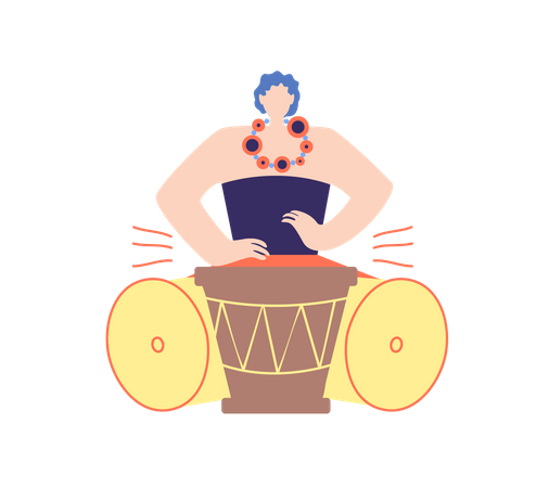 Male playing drum Illustration