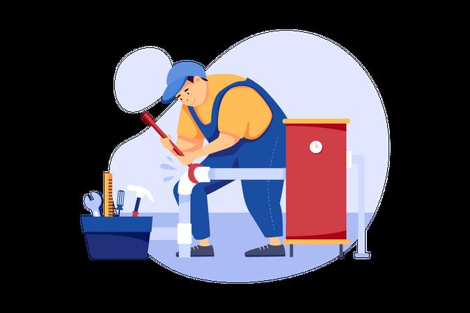 Male plumber fixing pipe Illustration