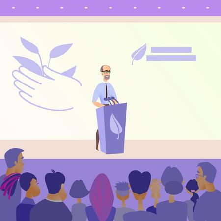 Male politician giving speech Illustration