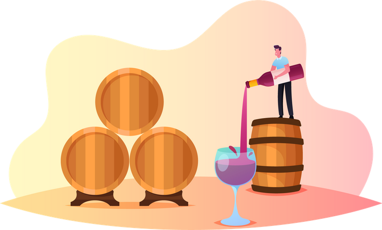 Male  Pouring Wine in Glass Illustration