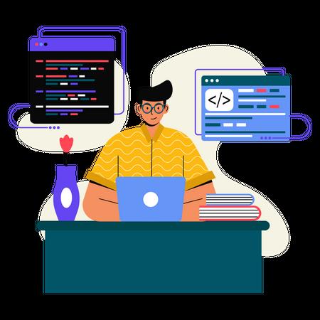 Male Programmer working on laptop Illustration