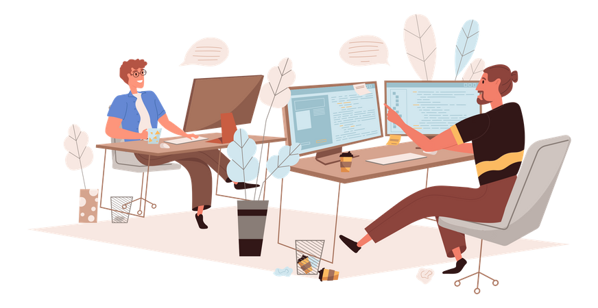 Male Programmers Working On New Project Illustration