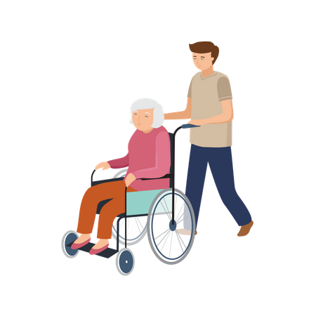Male pushing wheelchair for old woman Illustration