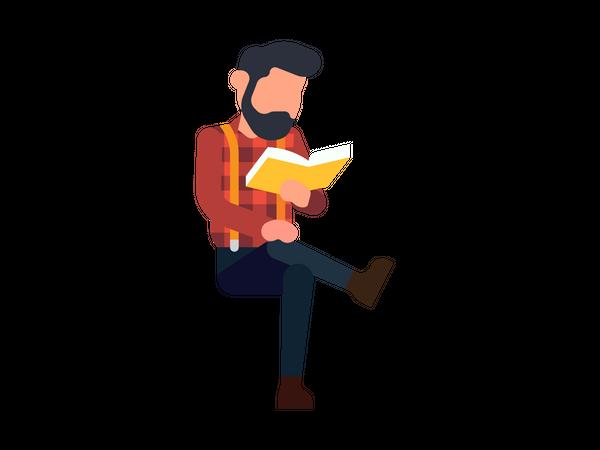 Male reading book Illustration