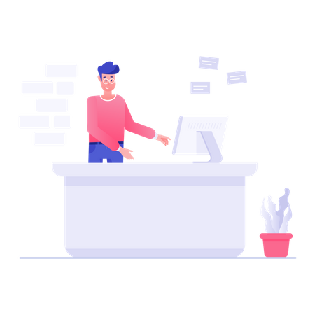 Male receptionist working in computer Illustration