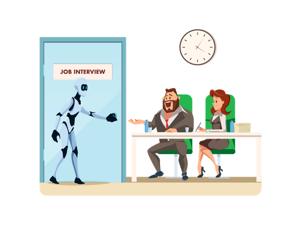 Male robot candidate enters for job interview Illustration