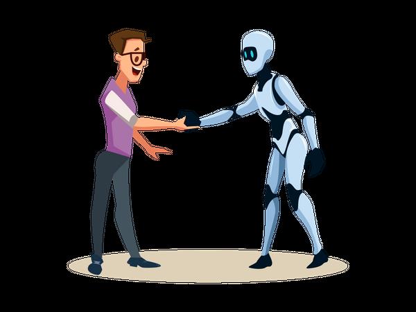 Male robot handshaking with human employee Illustration