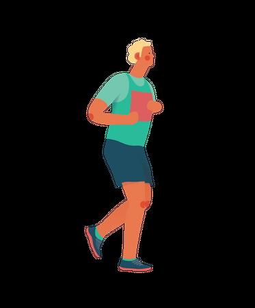 Male runner running Illustration