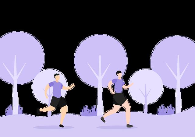 Male Runners Illustration