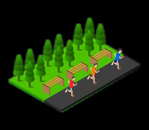 Male runners running in park Illustration