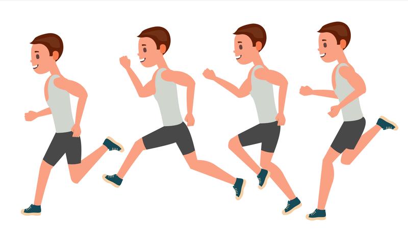 Male Running Vector. Animation Frames Set. Sport Athlete Fitness Character. Marathon Road Race Runner. Side View. Sportswear. Jogging, Workout. Isolated Flat Illustration Illustration