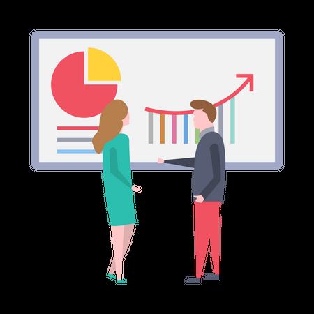 Male sales executive giving presentation Illustration