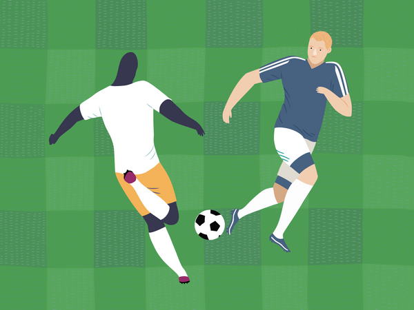 Male soccer player playing in match Illustration
