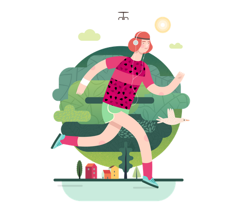 Male sportsperson running Illustration