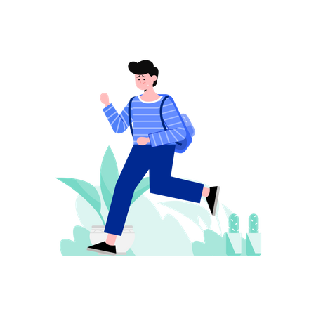 Male student carrying school bag on his back Illustration