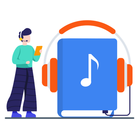 Male student listening audio lessons Illustration