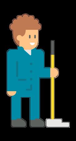 Male sweeper Illustration