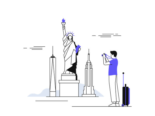 Male traveler clicking photo of statue of liberty Illustration