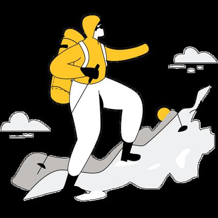 Male trekker climbing mountain Illustration