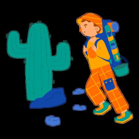 Male trekker with trekking bag Illustration